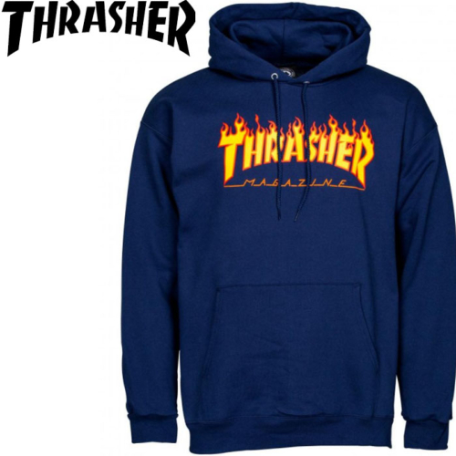 Sweat-shirt à capuche Thrasher Flame Logo Navy